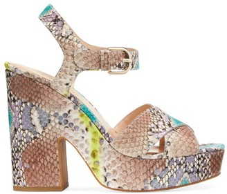 Kate Spade Grace Embossed-Snakeskin Leather Platform Sandals