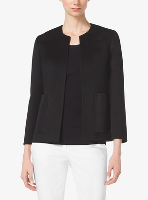 Michael Kors Leather-Pocket Cashgora-Melton Jacket