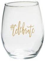 Kate Aspen Set of 4) #Celebrate 15 oz. Stemless Wine Glass