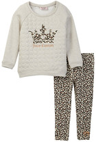Juicy Couture French Terry Crown Top & Leopard Pant Set (Little Girls)