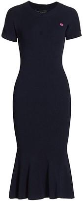 Brandon Maxwell Rib-Knit Midi Dress