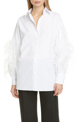 Valentino Feather Sleeve Poplin Shirt