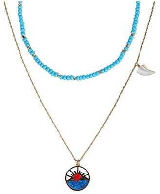 Rebecca Minkoff Horizon Charm Layered Necklace (Gold) Necklace