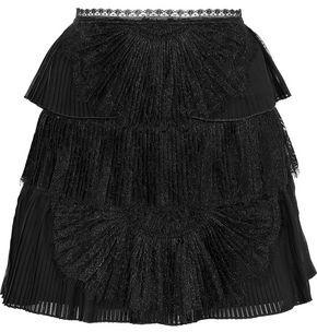 Alice + Olivia Iggy Lace-paneled Pleated Tiered Organza Mini Skirt