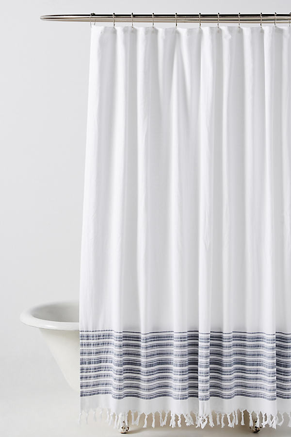Anthropologie Tasseled Raya Shower Curtain By in White Size 72 X 72