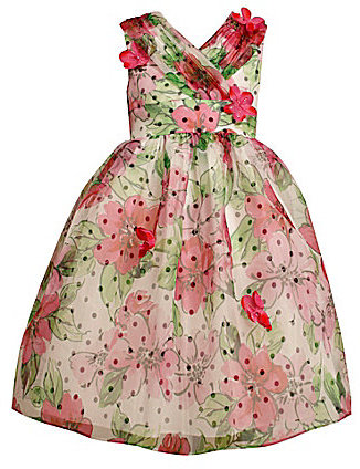 Bonnie Jean 7-16 Floral/Dotted Overlay Dress