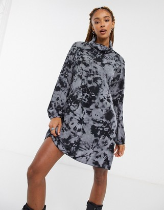 ASOS DESIGN mini ribbed dress in black and gray tie dye