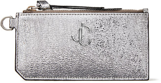 Jimmy Choo LISE Metallic Silver Distressed Fabric Pouch with JC Emblem