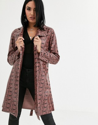 Blank NYC snake print patent trench coat-Brown