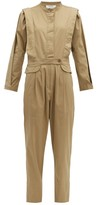 Sea Tula Pleated Cotton-blend Jumpsuit - Womens - Beige