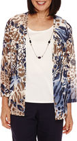 Alfred Dunner 3/4-Sleeve Animal Print Layered Top