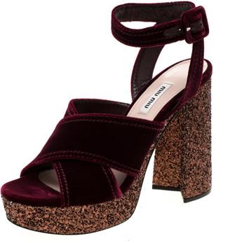 Miu Miu Burgundy Velvet Glitter Trimmed Platform Ankle Strap Sandals Size 39.5