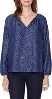 NYDJ Curves 360 By Leopard Print Peasant Blouse