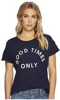 Original Retro Brand The Good Times Only Short Sleeve Slub Rolled Tee (Navy) Women's T Shirt