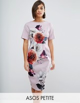 Asos Smart Dress with V Back in Rose Placement Floral
