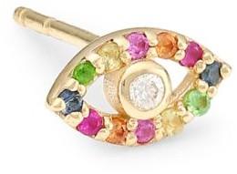 Anzie 14K Yellow Gold, Diamond & Multicolor Sapphire Evil Eye Single Stud Earring