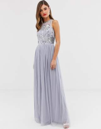 Frock and Frill high neck maxi dress with satin belt & embellished detail-Purple