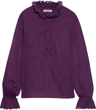 Etoile Isabel Marant Louna Broderie Anglaise-trimmed Cotton-voile Blouse