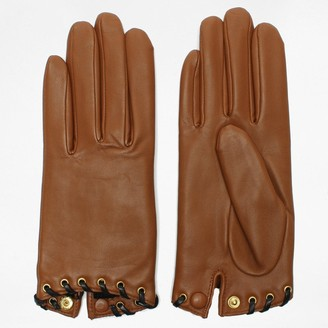 Agnelle Alixen Tan Leather Whip-Stitched Short Gloves