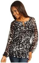 Calvin Klein Peasant Blouse (Black/Birch Multi) - Apparel