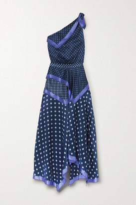 Altuzarra Petrel One-shoulder Asymmetric Polka-dot Silk-satin Dress - Blue