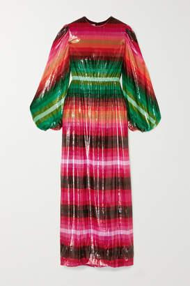 Valentino Striped Metallic Velvet Maxi Dress - Pink
