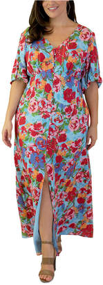 Maree Pour Toi Plus Size Floral-Print Peasant Maxi Dress