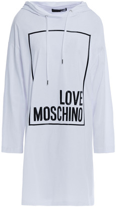 Love Moschino Embossed Cotton-jersey Hooded Dress