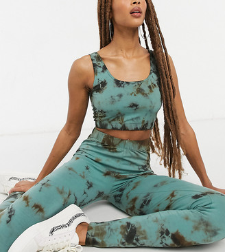 Noisy May exclusive leggings co-ord in green and black tie dye