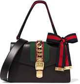 Gucci Sylvie Medium Chain-embellished Leather Shoulder Bag - Black
