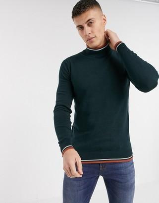 Brave Soul 100% cotton turtleneck sweater in dark green