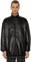 Balenciaga Logo Zip-up Leather Jacket