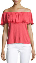 Splendid Senorita Off-the-Shoulder Fringed Top