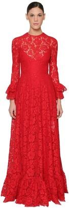 Valentino Long Lace Dress W/ Ruffles