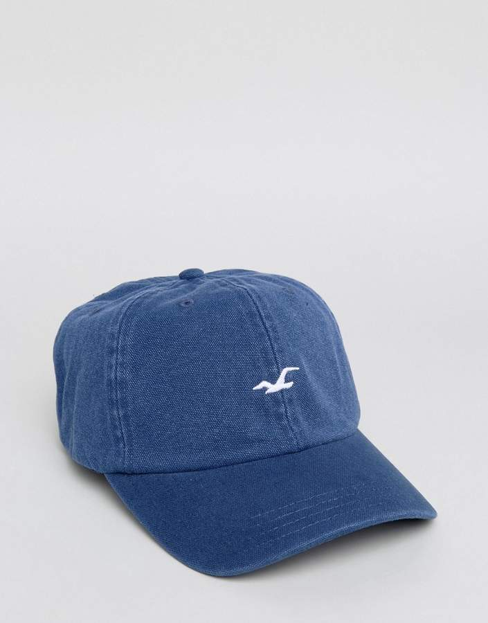 Hollister Logo Baseball Cap In Navy