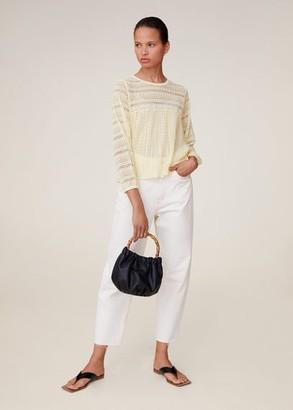 MANGO Openwork knit top pastel yellow - S - Women