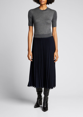 Loro Piana Park Avenue Pleated Two-Tone Midi Dress
