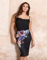 Jessica Wright Floral Print Lace Midi Skirt