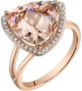 Ice 5 2/3 CT TW Morganite 14K Rose Gold Trillion Cut Halo Ring with Diamond Acccents