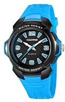 Calypso Unisex Quartz Watch with Black Dial Analogue Display and Blue Plastic Strap K5635/4