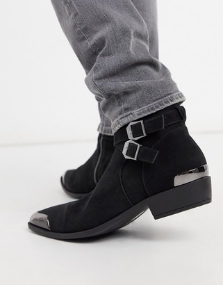 Asos DESIGN stacked heel western chelsea boots in faux black suede with buckle detail