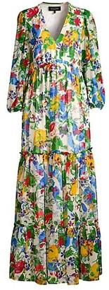 Saloni Olivia Floral Silk-Blend Tiered Dress
