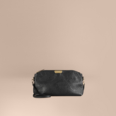 Burberry Small Embossed Check Leather Clutch Bag