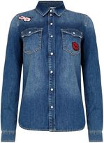 Oui Denim shirt with motifs