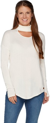 Peace Love World Banded Neck Sweater with Affirmation