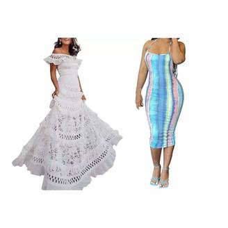 Sonline 2 Pcs Dress:1 Pcs Hollow Swing Lace Dress Dress White M & 1 Pcs Tie Dye Striped Print Halter Neck Open Back Dress Blue S