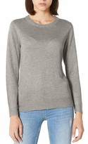 Peplum Pointe Women's Soft Crewneck Sweater Top Solid Lightweight Classic-Fit Long Sleeve Pullover(Purple Free/0-4)