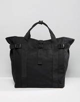 Asos Tote Bag In Black With Strapping Detail