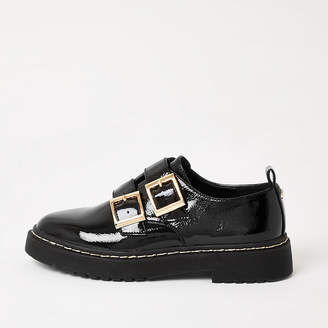 River Island Black patent buckle chunky loafers