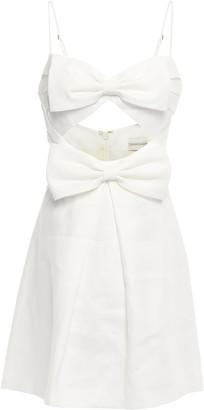 Zimmermann Corsage Bow-embellished Cutout Linen Mini Dress